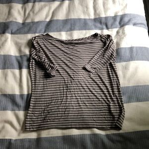 Madewell boat neck tan and white strip top